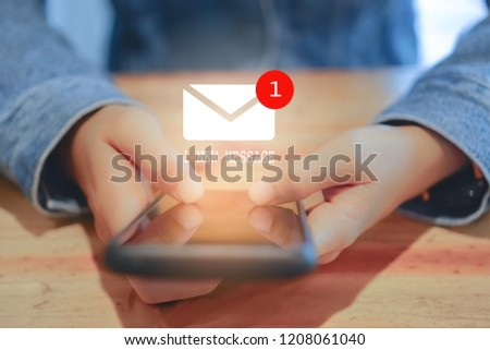 Woman hand using smartphone got 1 new message email. Business communication  technology concept. #1208061040