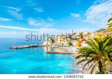 View of Bogliasco. Bogliasco is a ancient fishing village in Italy, Genoa, Liguria. Mediterranean Sea, sandy beach and architecture of Bogliasco town. Liguria, Italy Royalty-Free Stock Photo #1208083726