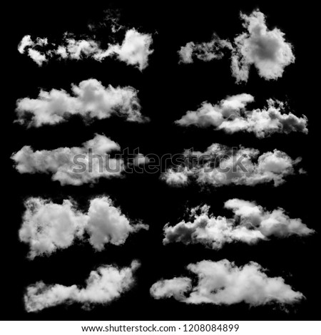 white cloud isolated on black background for Design element,Textured Smoke,collection of brush effect #1208084899