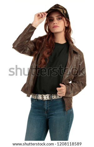 Blank t-shirt mock-up - Grunge, rock punk girl ready for your design #1208118589