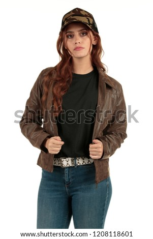 Blank t-shirt mock-up - Grunge, rock punk girl ready for your design #1208118601
