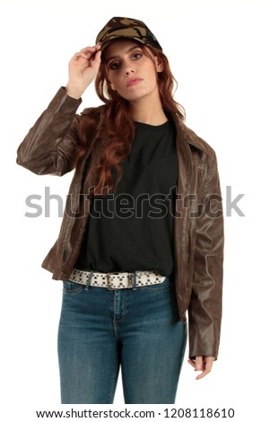 Blank t-shirt mock-up - Grunge, rock punk girl ready for your design #1208118610