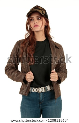Blank t-shirt mock-up - Grunge, rock punk girl ready for your design #1208118634