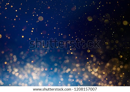 Christmas light background.  Holiday glowing backdrop. Defocused Background With Blinking Stars. Blurred Bokeh. #1208157007
