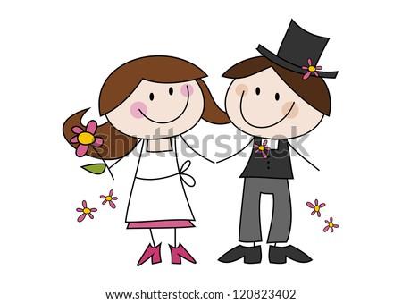Happy cartoon wedding couple