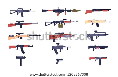Automatic guns. Battle game weapons. Pistol, shotgun and launcher, rifles. Cartoon vector gun collection of hotgun and handgun, military pistol and weapon illustration