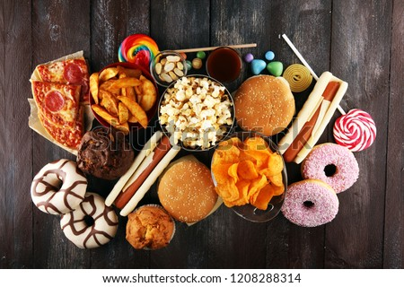Unhealthy products. food bad for figure, skin, heart and teeth. Assortment of fast carbohydrates food. American unhealthy food. #1208288314
