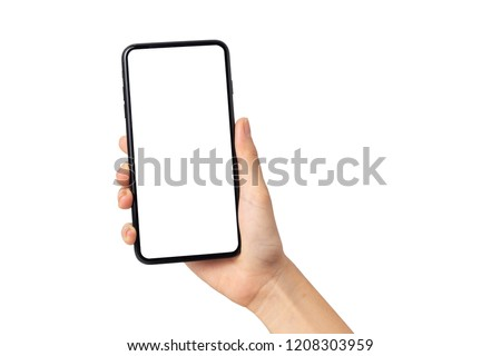 Hand young woman holding mobile smartphone with blank screen isolated on white background with clipping path #1208303959