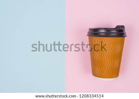 Top above high angle overhead close up view photo of paper cup isolate on two half blue and pink background copy space place for text #1208334514