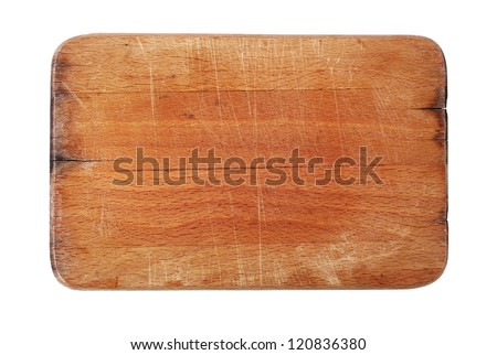 Wooden cutting board isolated on white #120836380