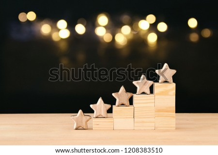 concept image of setting a five star goal. increase rating or ranking, evaluation and classification idea Royalty-Free Stock Photo #1208383510