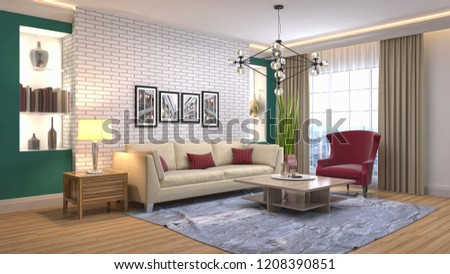 Interior of the living room. 3D illustration #1208390851