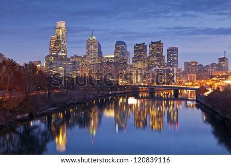 Philadelphia. Image of the Philadelphia skyline at twilight blue hour.