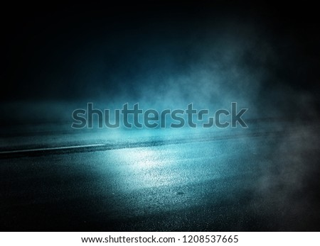 background of empty room at night, concrete floors and walls, neon light, fog, smoke, smog #1208537665