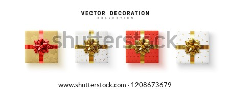 Set of gifts box. Collection realistic gift presents view top. Royalty-Free Stock Photo #1208673679
