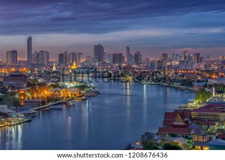 Night City tower and river Bangkok. skyline at night  #1208676436