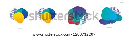 Set of abstract modern graphic elements. Dynamical colored forms and line. Gradient abstract banners with flowing liquid shapes. Template for the design of a logo,flyer or presentation. Vector. #1208712289
