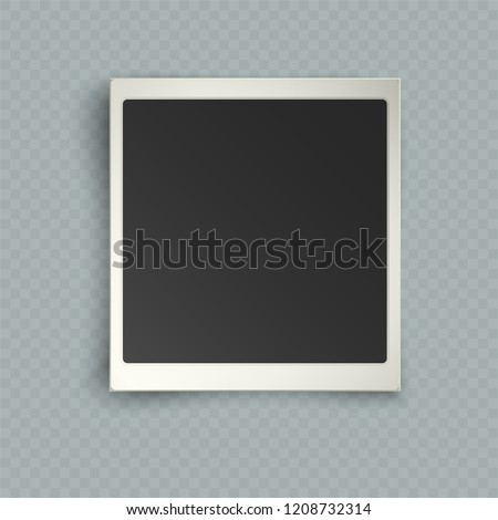 Retro realistic vertical blank instant photo frame with shadow effects white plastic border isolated on transparent background. Template photo design, instant photo imitation, vector illustration #1208732314
