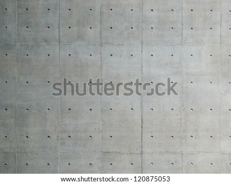 Raw or bare concrete wall, shot with panel seam lines perpendicular to image dimension. #120875053