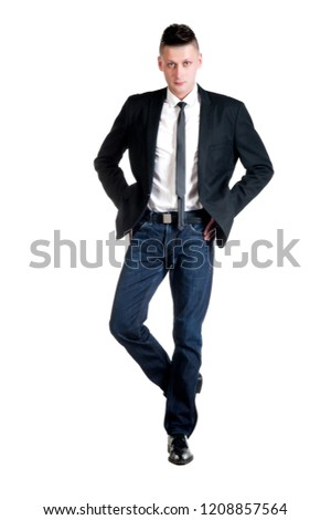 Young man posing on a white background isolated #1208857564
