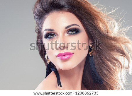 Beautiful woman cosmetic portrait healthy skin and hair beautiful eyes and lips #1208862733