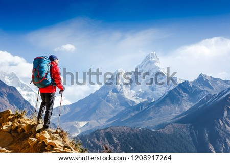 Hiker on the top in Himalayas mountains. Travel sport lifestyle concept #1208917264