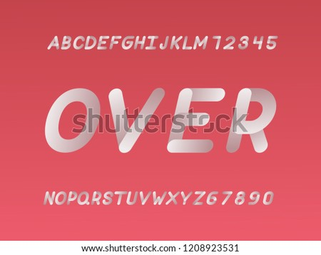 Over font. Vector alphabet letters and numbers. Typeface design.   #1208923531