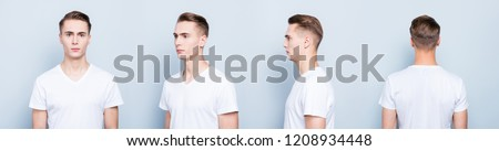Collage 4 in 1 portrait from all side of confident, serious, perfect, cool, attractive man standing isolated on gray blue background
