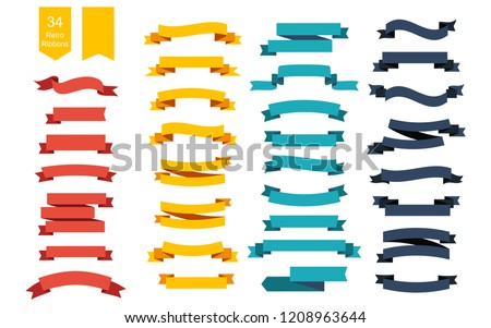 Colorful Vector Ribbon Banners. Set of 34 ribbons. Ribbons set. Banners set. Ribbon colorful. Eps10 Royalty-Free Stock Photo #1208963644