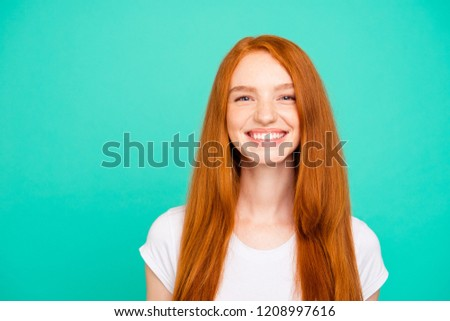 Portrait of nice cheerful positive peaceful cute bright vivid shiny red straight-haired girl in casual white t-shirt, isolated over turquoise green background #1208997616