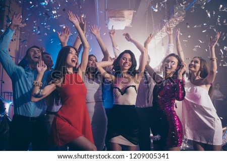 Careless, carefree, dream, dreamy person dance on corporate, feast, festive raise hands up, close eyes, make big white toothy smile #1209005341