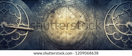 Ancient astronomical instruments on vintage paper background. Abstract old conceptual background on history, mysticism, astrology, science, etc. Retro style. #1209068638