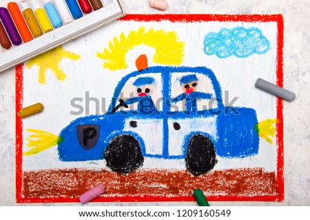 Colorful hand drawing: police car and two policemen