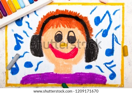 Colorful drawing: A smiling boy with headphones on his ears listening to favorite music