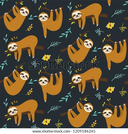 Cute cartoon sloth seamless pattern vector graphic design. Hand drawn sloth character hanging on the tree. Animal illustration for nursery design, birthday, baby shower design and party decor, print