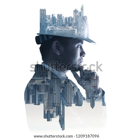The double exposure image of the engineer thinking overlay with cityscape image and. The concept of engineering, construction, city life and future. #1209187096