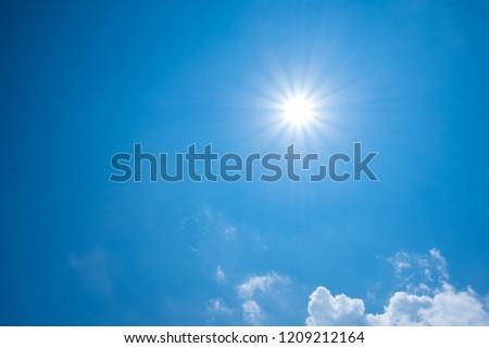 Beautiful blue sky with sunny sun. #1209212164