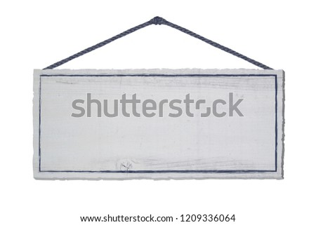sign shield wood white isolated rope hanging