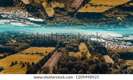 Ariel photo of fields in Connecticut manipulated and flipped