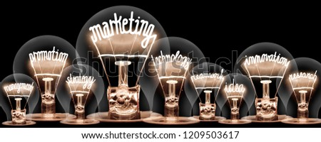 Photo of light bulbs with shining fibers in shapes of MARKETING concept related words isolated on black background #1209503617