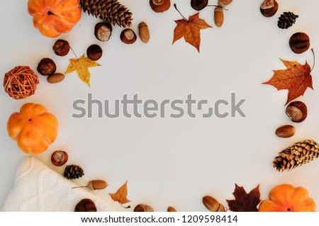 Autumn natural decorations frame with copy space for text isolated on white background: nuts, leaves, knitted sweater and decor. For weddings, fall, winter and holidays. flatley #1209598414