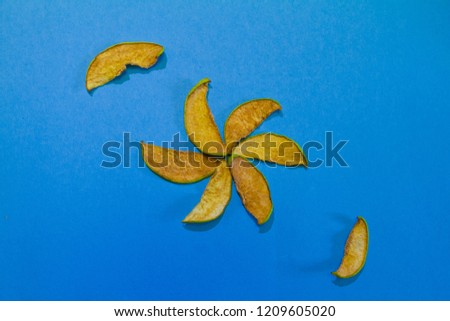 Slices of dried quince, sweet sugar free delicious snack for children and adults, cute bright composition on blue background isolated, flat lay photo, healthy products, eco food concept #1209605020
