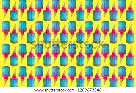 Cake pattern on bright background. Ice cream birthday cake with dripping bright pink frosting. Icing down the sides of the cake and cake ice cream cone #1209673546