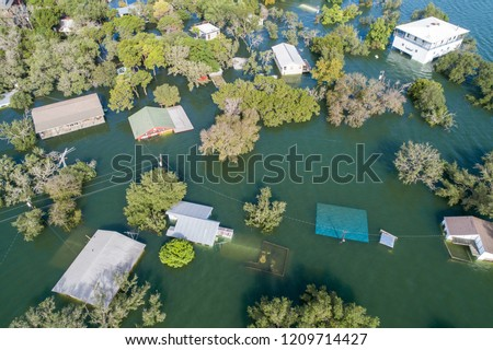 tons of homes totally destroyed , flooded and submerged under water , Historic Flooding aerial drone view above Homes and Houses Central Texas Flooding severe weather and climate change flooding #1209714427