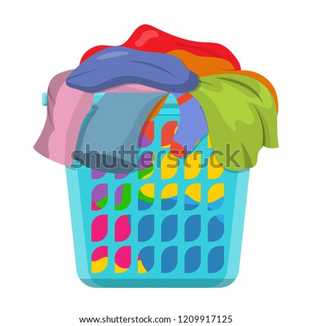Basket with linens, Laundry basket with dirty clothes. illustration in flat style Raster version.