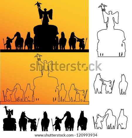 raster version of Roman soldiers silhouette #120993934