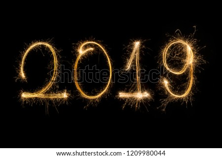 Happy new year 2019  written with Sparkle firework #1209980044