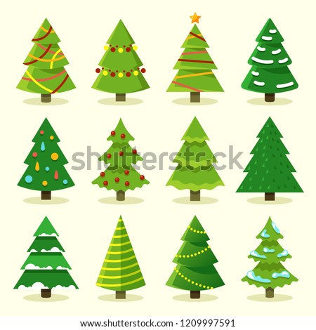 Winter colorful cartoon Christmas tree vector set