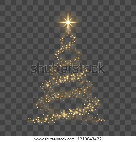 Christmas tree on transparent background. Gold Christmas tree as symbol of Happy New Year, Merry Christmas holiday celebration. Golden light decoration. Bright shiny design Vector illustration #1210043422