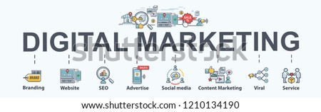 digital online marketing banner web icon for business and social media marketing, content marketing, website, viral, seo, keyword, advertise and internet marketing. Minimal vector infographic. #1210134190